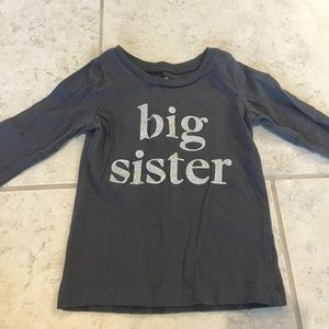 Long sleeved big sister shirt, size 2T